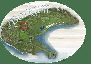 Die Lage unserer Ferienwohnung auf Borkum